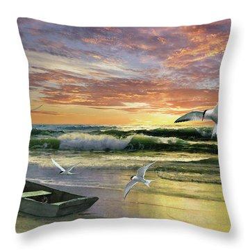 Surf At Sunrise Throw Pillow