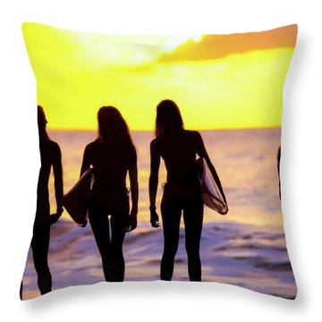 Surf Girl Silhouettes Throw Pillow