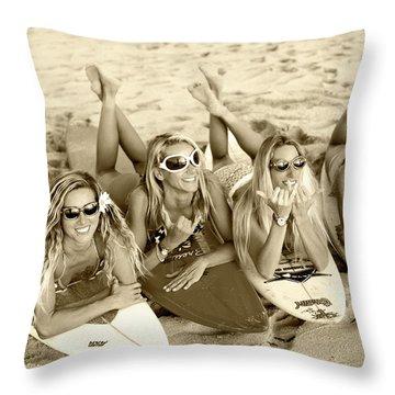 Surf Girls - Sepia Throw Pillow