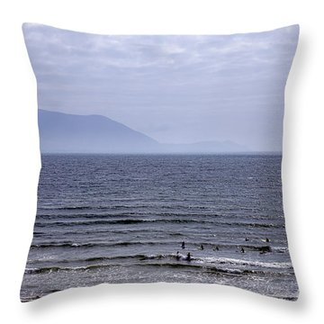 Surfers At Inch Beach Throw Pillow