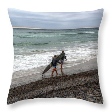 Surfers In Carlsbad Throw Pillow