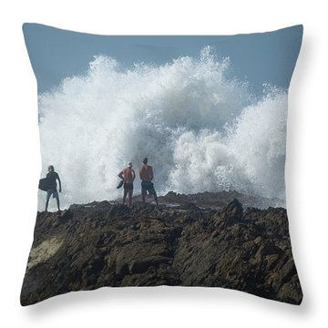 Surfers On The Beach, Coral Sea Throw Pillow