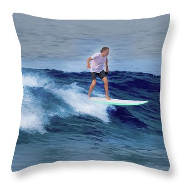 Surfing Andy Throw Pillow