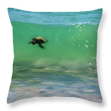 Surfing Turtle Throw Pillow