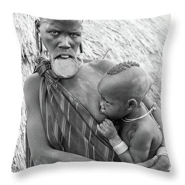 Mursi Mother And Child Throw Pillow