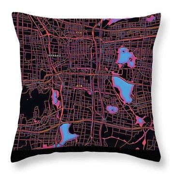 Suzhou City Map Throw Pillow