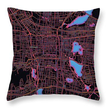 Suzhou City Map Throw Pillow