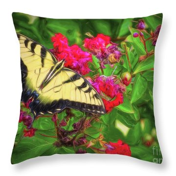 Swallowtail Among Flowers Throw Pillow
