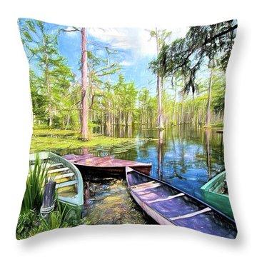 Swamp Boats Waiting Ap Throw Pillow
