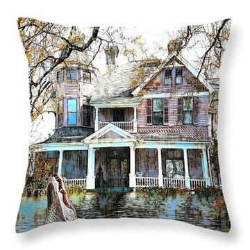 Throw Pillow featuring the digital art Swamp House by Pennie McCracken