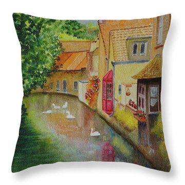 Swan Canal Throw Pillow