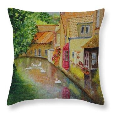 Swan Canal Throw Pillow