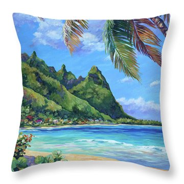 Swaying Palm On Makua Beach Throw Pillow