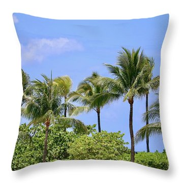 Swaying Palm Trees Throw Pillow