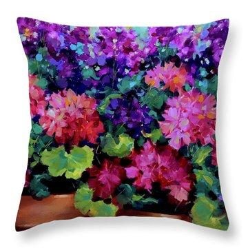 Sweet Dreams Geranium Garden Throw Pillow