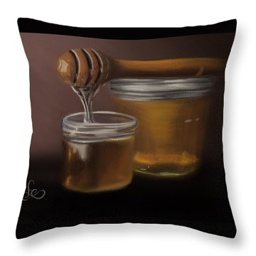 Throw Pillow featuring the painting Sweet Honey by Fe Jones