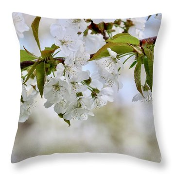 Sweet White Cherry Blossoms Throw Pillow