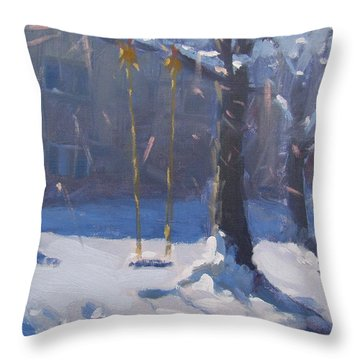 Swing And Snow Throw Pillow