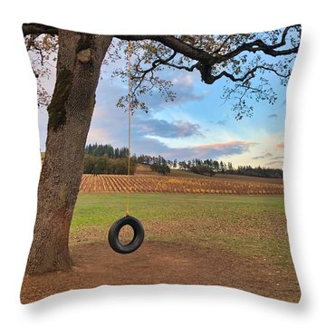 Swing In Tree Throw Pillow