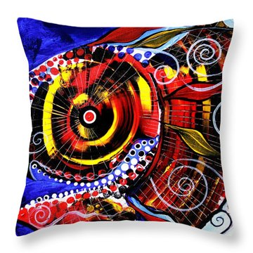 Swollen, Red Cavity Fish Throw Pillow