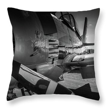 T-28b Trojan In Bw Throw Pillow