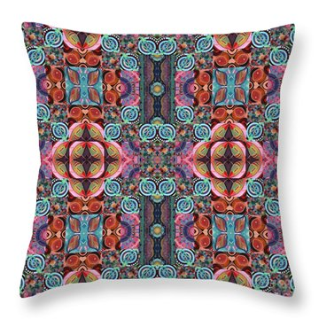 T J O D Mandala Series Puzzle 7 Arrangement 5 Multiplied Variation Throw Pillow