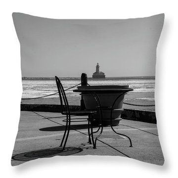 Table For One Bw Throw Pillow