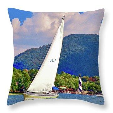 Tacking Lighthouse Sailor, Smith Mountain Lake Throw Pillow