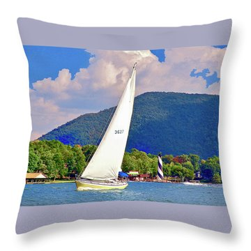 Tacking Lighthouse Sailor, Smith Mountain Lake Throw Pillow