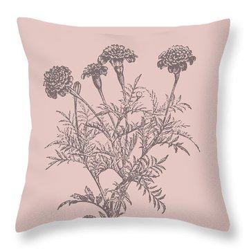 Tagetes Patula Blush Pink Flower Throw Pillow