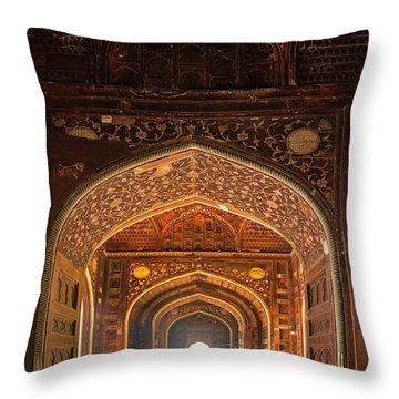 Taj Mahal Interior, Agra, Uttar Throw Pillow
