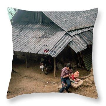 Taking Care Of Baby In Sapa, Vietnam Throw Pillow