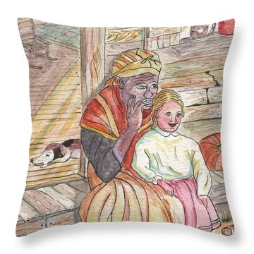 Taking Care Of The Owners Little Daughter Throw Pillow