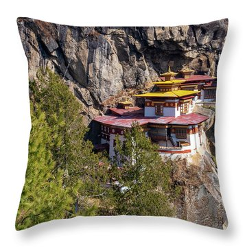 Taktsang Monastery  Throw Pillow