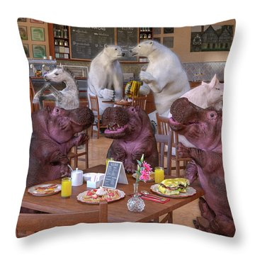 Talk Of The Town Coffee Shop Throw Pillow