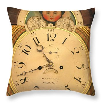 Tall Case Clock Face, Around 1816 Throw Pillow