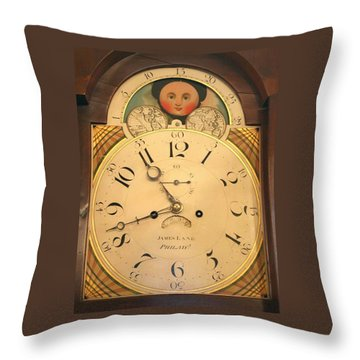 Tall Case Clock Face, Around 1816 Throw Pillow