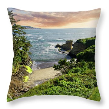 Tall Conifer Above Protected Small Cov Throw Pillow