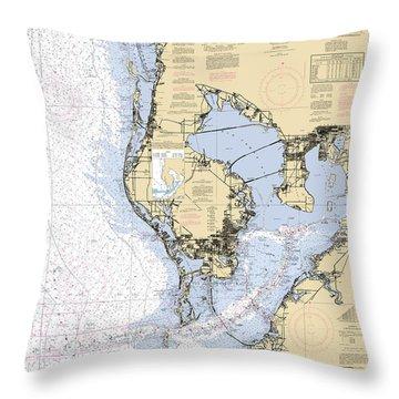 Tampa Bay And St. Joseph Sound Noaa Chart 11412 Throw Pillow