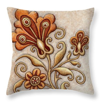 Tapestry Flower 3 Throw Pillow