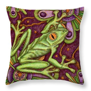 Tapestry Frog Throw Pillow