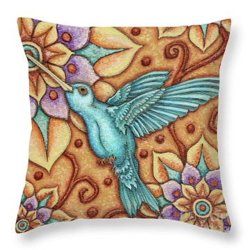 Tapestry Hummingbird Throw Pillow