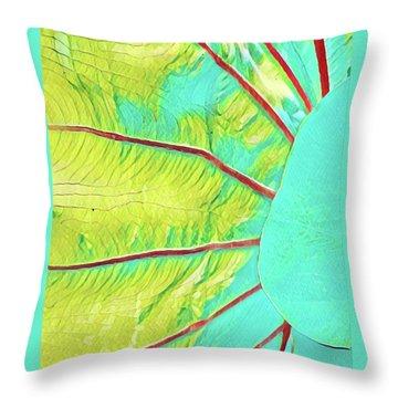 Taro Leaf In Turquoise  Throw Pillow