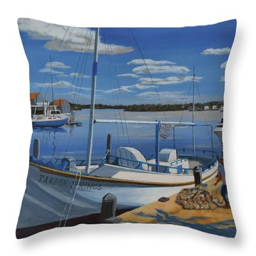 Throw Pillow featuring the painting Tarpon Springs Sponger by David Gilmore
