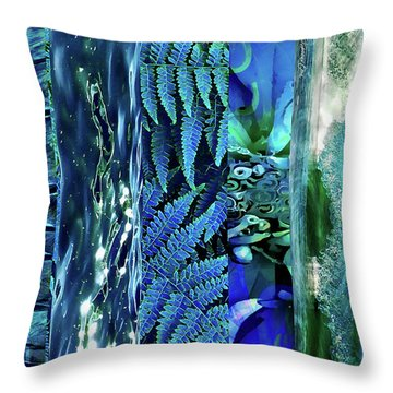 Throw Pillow featuring the digital art Teal Abstract by Cindy Greenstein