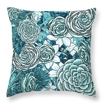 Teal Blue Watercolor Botanical Flowers Garden Pattern Flowerbed Iv Throw Pillow