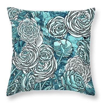 Teal Blue Watercolor Botanical Flowers Garden Pattern Flowerbed V Throw Pillow