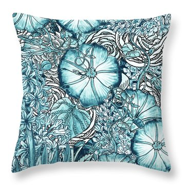 Teal Blue Watercolor Botanical Flowers Garden Pattern Flowerbed Vi Throw Pillow
