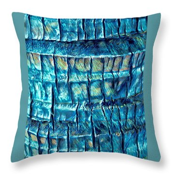 Throw Pillow featuring the digital art Teal Palm Bark by Cindy Greenstein