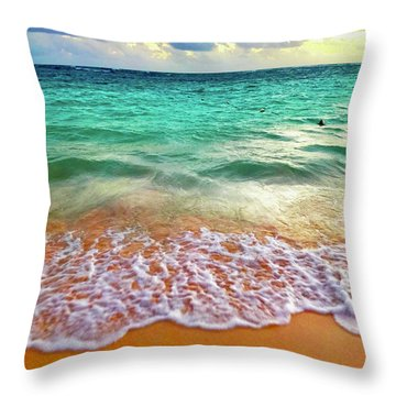Throw Pillow featuring the digital art Teal Shore  by Cindy Greenstein